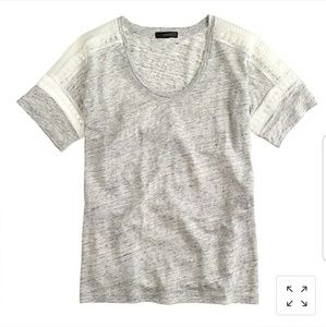 J. Crew Embroidered Linen Lace T-shirt grey xxs